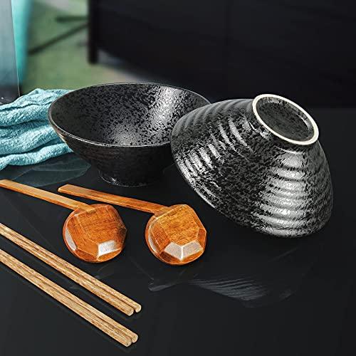 2 juegos 6 piezas de 60 onzas de tazón de sopa de fideos de ramen de cerámica japonesa, ensaladeras creativas con cucharas de palillos, cuencos de ramen de personalidad para cereales, fideos, verduras