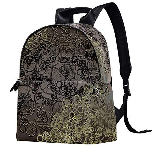 Leather Backpack School College Bookbag Travel Office Bag Laptop Backpack for Women Men - Retro Steampunk Design
