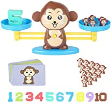 Aleaf Counting Toys,Monkey Balance Montessori Educational STEM Math Counting Games & Balance Measuring Fun Gift for Girls & Boys Kids Ages 3+ (63-Piece Set)