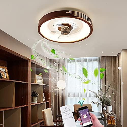 Ventilador De Techo en madera con Luz LED Moderno Lampara de Plafon Regulable con Mando A Distancia y APP Luces de Techo Silencioso Round para Dormitorio salón Sala de Estar Cuarto Oficina iluminación