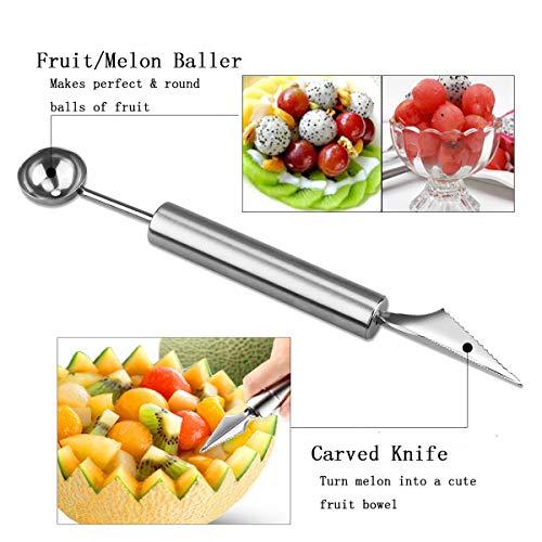 Emual Watermelon Slicer & Melon Baller Fruit Carving Knife 2 in 1 Set