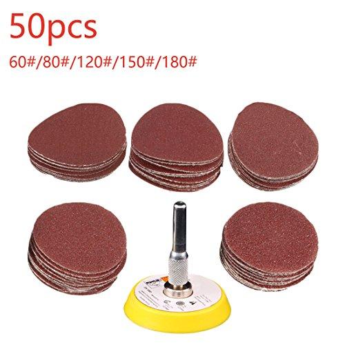 50 unids 2 pulgadas papel de lija circular rojo 60/80/120/150/180 pulido abrasivo boquillas de molienda + 1pc placa de gancho en forma de Dremel