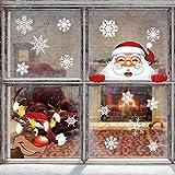 Yuson Girl 42 Stk Schneeflocken Fensterbild mit Weihnachtsmann Elk Abnehmbare Weihnachten Aufkleber Fenster Weihnachten Deko Wandtattoo Weihnachten Statisch Haftende PVC Aufkleber - 4