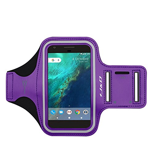 J&D Armband Compatible for Google Pixel 4/Pixel 3a/Pixel 3/Pixel 2/Google Pixel/Pixel 4a/iPhone XR Armband, Sports Armband w/Key Holder Slot and Earphone Connection, Running iPhone XR Running Armband