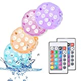 Submersible Led Lights, Remote Control Pool Light with 16 Changeable Color, Waterproof Shower Lights for Pool, Fountain,Decor Pond, Vase,Rooms, Courtyards,Gardens, Fish Tanks (4 Pack 24keys)
