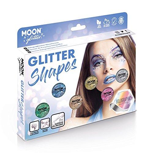 Paillettes en formes Holographiques par Moon Glitter (Paillette Lune) – 100% de paillettes cosmétique pour le visage, le corps, les ongles, les cheveux et les lèvres - 3g - Cofrett