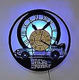 ZZDD 12 Pollici Orologi da Parete, Ritorno al Futuro Creativo retrò Vinyl Record Orologio da Parete Soggiorno Silenzioso con Motivo LED Luminoso Mano Nero della Luce di Notte per Boy Regalo