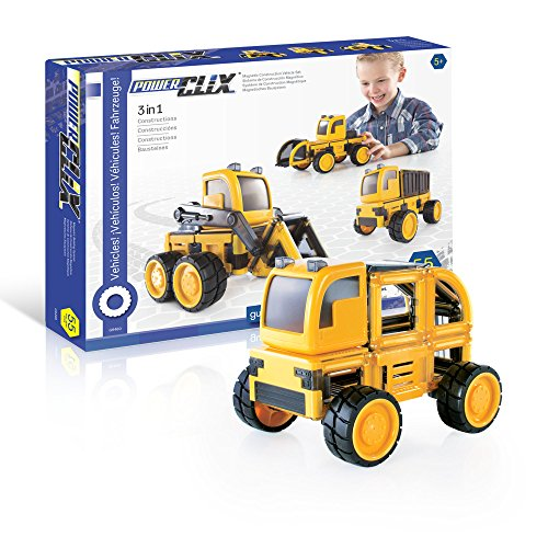 PowerClix Construction Vehicle Set: 55 Piece Magnetic Build-Your-Own Dump Truck, Bulldozer, and More - STEM Educational Building Toy for Kids