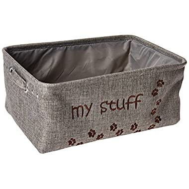 "Winifred & Lily Pet Toy and Accessory Storage Bin, Organizer Storage Basket for Pet Toys, Blankets, Leashes and Food in embroidered ""My Stuff"", Grey"