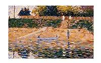 アニエールのビーチ近くのボートジョルジュ・スーラ キャンバスプリント、寝室の家の装飾、キャンバスの絵画の写真、オフィスの装飾のためのキャンバスの壁の芸術 60x95cm/24x37inch額無し