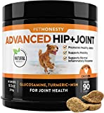 Ease Joint Stiffness Associated With Daily Activity + Normal Inflammatory Response - PetHonesty's Advanced Hip + Joint soft chews combine Glucosamine, MSM and other powerful all-natural ingredients like Turmeric to help support your dog's mobility, j...