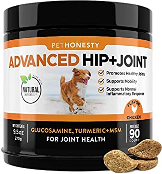 PetHonesty Advanced Hip & Joint - Dog Joint Supplement Support for Dogs with Glucosamine Chondroitin MSM Turmeric - Glucosamine for Dogs Soft Chews - Pet Joint Pain Relief - 90 ct