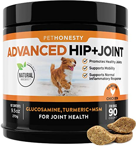 PetHonesty Glucosamine for Dogs - Dog Joint Supplement Support for Dogs with Glucosamine Chondroitin, MSM, Turmeric - Advanced Hip and Joint Support for Dogs Chews and Pet Joint Pain Relief - 90 ct