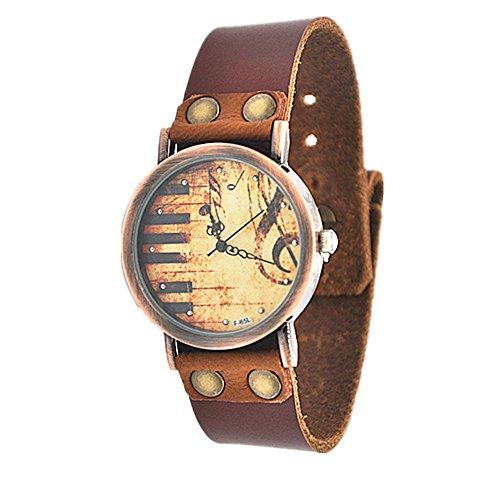 MINILUJIA Amante de la música Piano Llaves 32mm Dial Único Vintage Mujer Relojes Correa de Piel marrón Suave