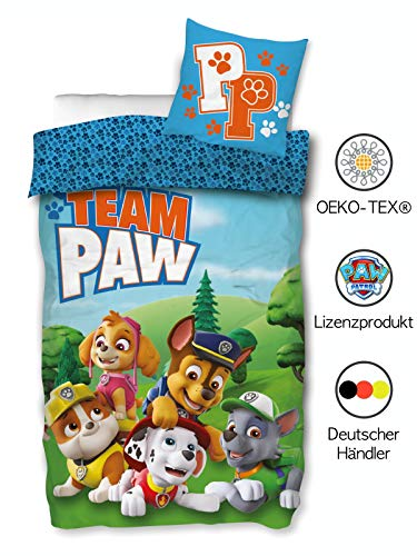 Paw Patrol Bettwäsche 135x200 cm 80x80 cm Kissenbezug Bettbezug Kinder Jungen Baumwolle Öko-Tex Standard 100 Deutsche Größe