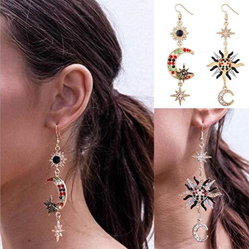 Asymmetrische zon en maan haak vormige oorbellen, wild diamant opaal materiaal met meerdere klok kleuren, gewicht 17G lichtgewicht en stijlvol, is de eerste keuze voor vrouwen accessoires
