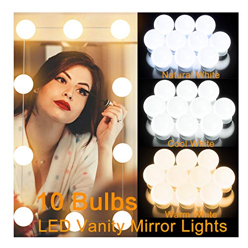 Vanity Lights,LED Makeup Mirror Lights,Vanity Light for Mirror with 10 Dimmable Light Bulbs,Hollywood Style LED Lighting Fixture Strip for Mirror Makeup Lights,3 Color Modes and 10 Level Brightness