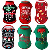 6 Pieces Christmas Dog Shirts Printed Puppy Clothes Soft Breathable Puppy Shirts Christmas Printed Pet T-Shirt Colorful Dog Outfits Puppy Sweatshirt Pullover Clothes for Small Medium Pets (Medium)