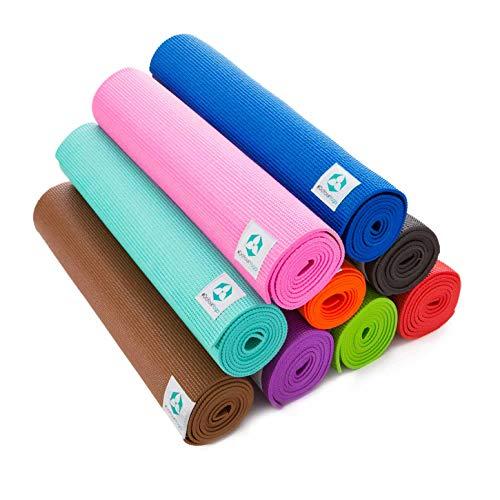 Tappetino da yoga / dimensioni: 183 x 61 x 0,5 / realizzato in PVC ecologico, multiuso, antiscivolo, inodore, ipoallergenico, protegge le articolazioni, pieghevole e facile da pulire - ottima base per gli esercizi, leggero da trasportare perfetto come base di allenamento per yoga, pilates e ginnastica. Disponibile in tanti colori vivaci.