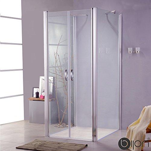 BIJON Duschkabine U Form 100x90 Dreiseitig Klarglas, Dusche Uform Duschkabine 100x90x180 cm - Nano, Lotuseffekt, Duschkabine 3 Seitig mit Pendeltür, Duschabtrennung ECHT-Glas
