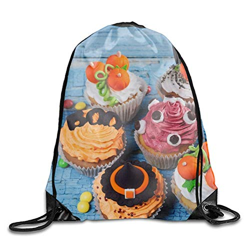 uykjuykj Holiday Halloween Cupcake Portable Pulling knapsack Breathable Backpack Sport Gym Sack Drawstring Backpack Bag Holiday Halloween Cupcake8 Lightweight Unique 17x14 IN