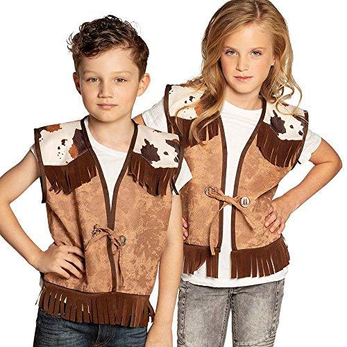 Boland 54345 - Weste Wilder Westen, für Kinder von 7 - 9 Jahre, Farbe: Braun, Beige, Weiß, Lederoptik mit Fransen und Kuhflecken, für Cowboy oder Rodeoreiter, Kostüm, Verkleidung, Karneval