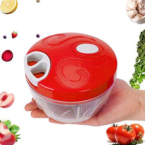 OurLeeme Hachoir manuel, Hachoir à main 500ML Légumes Oignons Fruits Ail Noix de viande Hachoir Lames amovibles en acier inoxydable Coupe ail (Rouge)