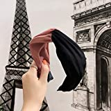 B/H Pelo Anchas Lisas Diademas para Mujer y Niña,Pure Color Fabric Hair Accessories, Simple Contrast Color, Cross Wide-Brimmed Headband, Headband Women-Black,Nudo Cruzado Diadema Ancho