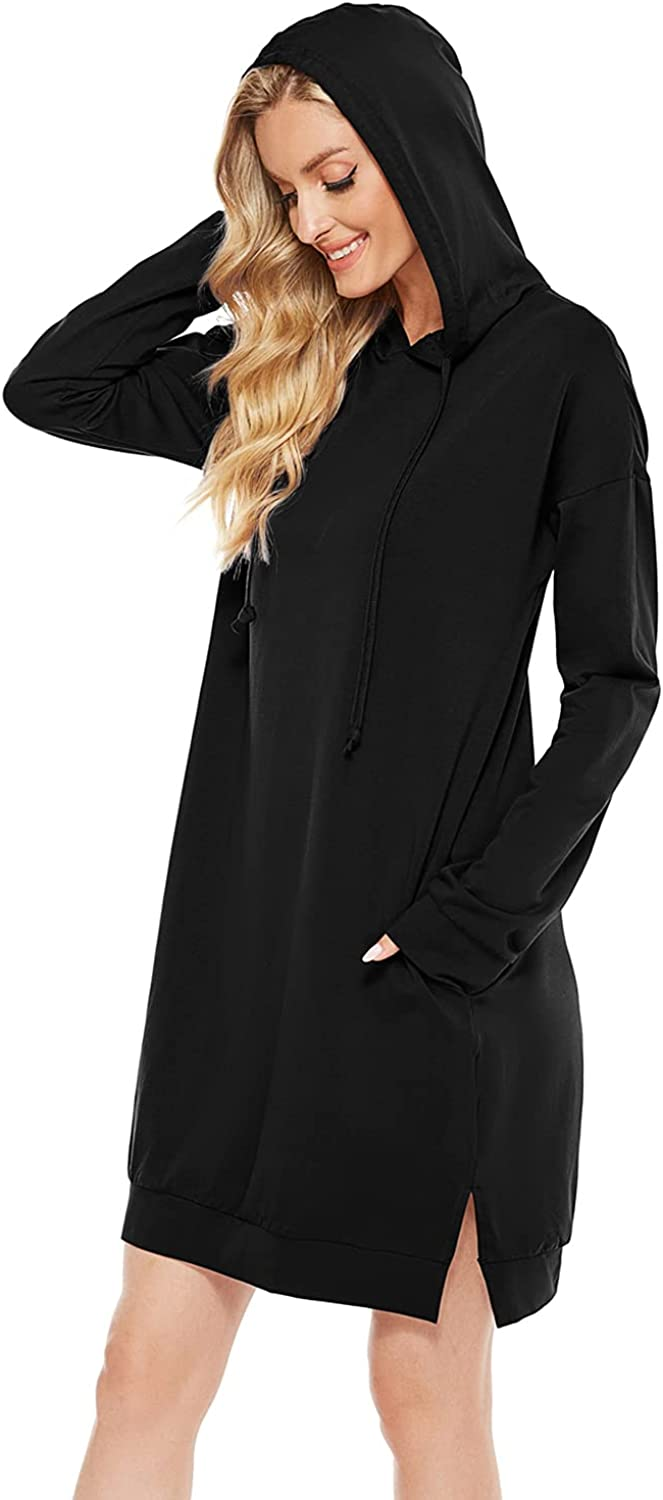 Maintain Vigour Women's Lightweight Long Tunic Hoodie Dress Hooded Sweatshirt Casual Long Sleeve Pullover with Pocket