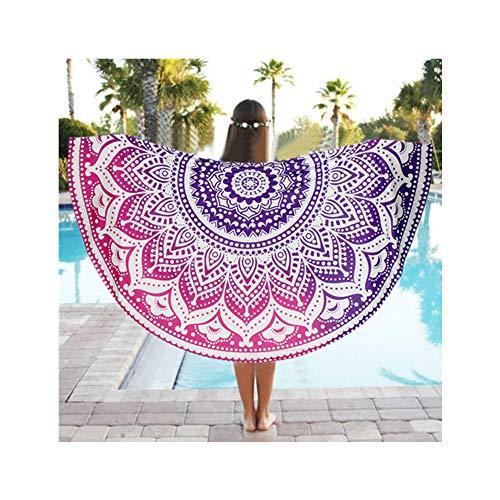melupa Mandala Beach Towel, Indian Hippie Boho Round Beach Towel, Purple Bohemian Beach Blanket Sand Proof Oversized Yoga Mat Towel 59 Inches