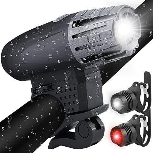 Solocil Luz de Bicicleta Recargable USB Set Potente Impermeable – Luces LED Delantera y Trasera para Bici – Ciclismo y Linterna de Montaña
