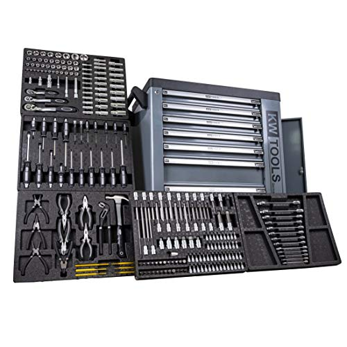Grey Edition DeTec Werkzeugwagen | Werkstattwagen mit 7 Schubladen - 5 gefüllt mit Handwerkzeug