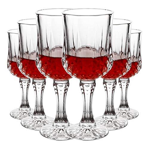 Copas de vino Juego Romántico Francés Copa Exquisitamente Tallada Copa De Champán De Lujo De Alta Gama Copa De Vino De Diamante De 250 Ml (Color : Clear, Size : 7.3 * 17.5cm*6)
