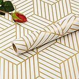 Hode - Carta da parati autoadesiva per mobili, esagonale, motivo a strisce dorate, motivo geometrico, per pareti laterali e cassetti, 45 x 300 cm