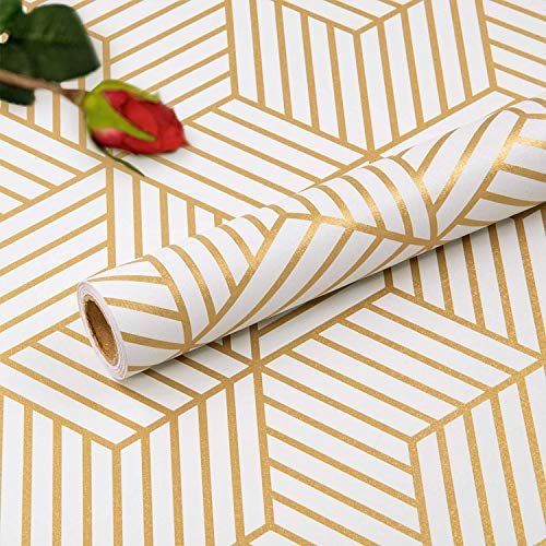 Hode Papel pintado autoadhesivo para muebles, diseño hexagonal, color champán, rayas doradas, geométricas para pared lateral, rollo de película de vinilo para estantes de pared, cajón, 45 x 300 cm