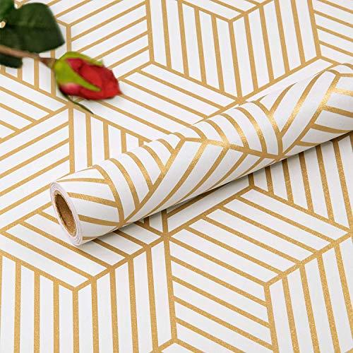 Hode - Papel pintado autoadhesivo para muebles, diseño hexagonal, rayas geométricas de color champán, rollo de película de vinilo para estantes de pared, forro, cajones, etc. 45 x 300 cm