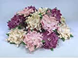 25 pcs. Crazy Pink Flower Purple Tone Mulberry Paper Flower 40-45 mm Scrapbooking Wedding Doll House Supplies...