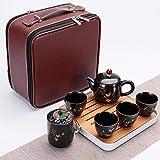 Ksnrang Set da tè da Viaggio in Ceramica in Stile Cinese retrò da Lavoro Borsa per Il Trasporto Riunione Festiva Regalo pubblicitario Personalizzazione Logo-Autunno