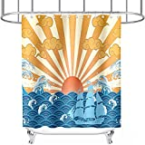 Cartoon Nautical Shower Curtain Ocean Wave Boat Sun Shine Theme for Kids Bathroom Decor Cloth Fabric Sets with Hooks Waterproof Washable 72 x 72 Inches Yellow Blue and Red