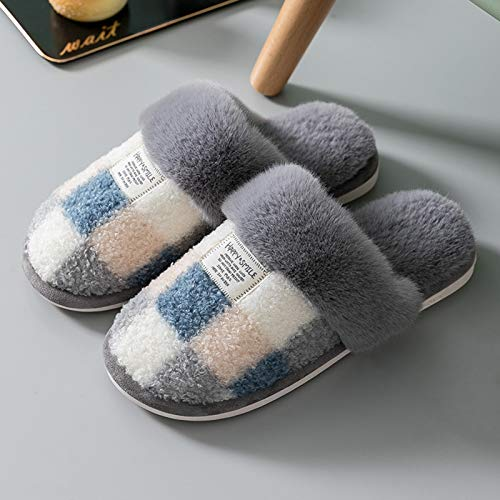 GOLDGOD Winter Plush Slippers, Thermal Autumn Winter Ladies Home Slippers Indoor Outdoor Anti-Slip Slippers Warm Soft Comfortable for Ladies Man,Gray,40~41 EU(6.5~7 UK)