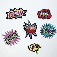 lihe008 漫画パーソナルコンピュータ刺繍布服ホームテキスタイルパッチ(6個)