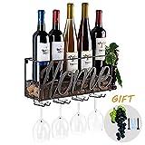 Tinyuet Porta Botella de Vino | Botellero | Caja de Vino de Pared | Porta Botella y Vaso |...