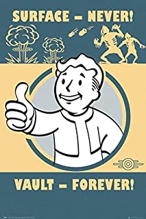 Fallout 4 - Gaming Poster/Print (Vault-Tec/Vault Boy - Surface - Never, Vault - Forever) (Size: 24 inches x 36 inches)