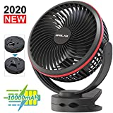 10000mAh Battery Operated Clip On Fan with Hanging Hook, Super Strong Airflow, 4 Speeds, Sturdy Clamp, Timer, Portable...