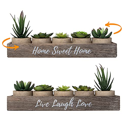5 Rustic Set Bathroom Decor Home Decor, Kitchen, Coffee Table - Artificial Plants Flowers Succulents, Centerpieces Dining Room Greenery Plant Decorations Living, Indoor Apartment Faux Farmhouse Box