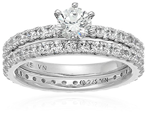Platinum-Plated Sterling Silver Round Ring Set made with Swarovski Zirconia (1/2 Carat Center Stone), Size 7