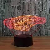 Luz De Noche Led-Visión 3D-Siete Colores-Control Remoto Ciencia Ficción Luz De Coche Visión Luz De Noche Mesa Táctil Para Niños Luz De Noche Para Dormir Para Bebés