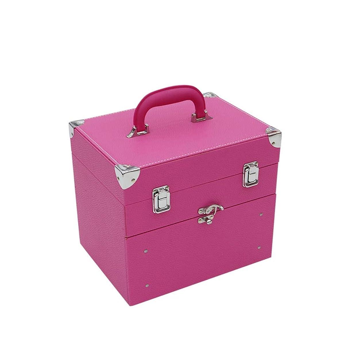 日食の頭の上蚊2層メイクボックス ネイルボックス 大容量 プロ用 化粧品収納 小物入り 引き出し付き ロック付き ピンク おしゃれ 手提げ付き クラシック 持ち運び便利 アウトドア