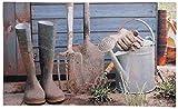 Esschert Design Schmutzfangmatte, Fußmatte mit Motiv Garten, ca. 75 cm x 45 cm