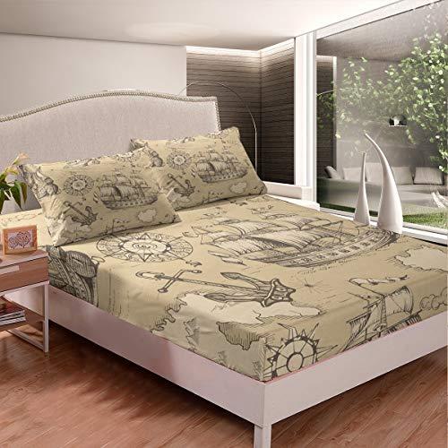 Loussiesd Anchor - Juego de sábanas para niños, adolescentes, con estampado de brújula, funda de cama estilo retro vintage para dormitorio, 3 unidades, tamaño doble